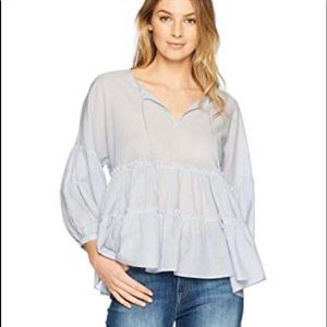 Lucky Brand Blue Pinstriped Peasant Peplum Blouse